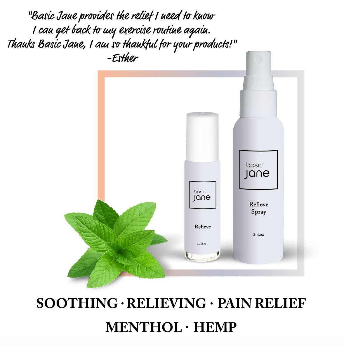 Relieve Natural Topical Pain Relief Spray with Cannabis (<0.3% THC) and Menthol | Basic Jane