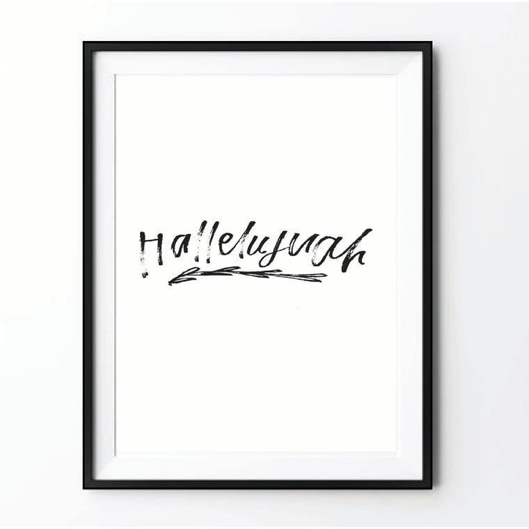 """Hallelujah"" Printable Black & White"