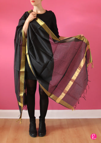 Chanderi Dupatta Gold Black