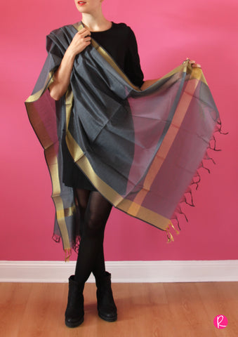 Chanderi Dupatta Gold Grey