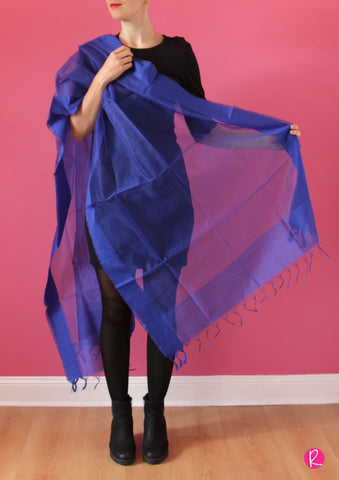 Chanderi Dupatta Stripes Royal Blue
