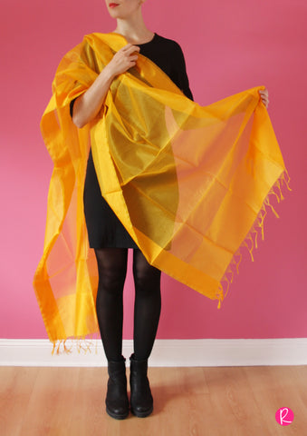 Chanderi Dupatta Stripes Yellow