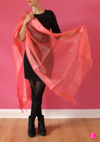 Chanderi Dupatta Stripes Peach