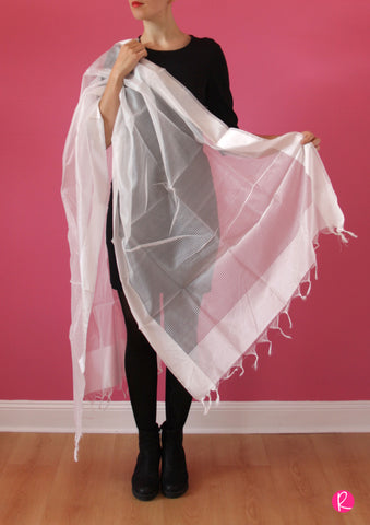 Chanderi Dupatta Stripes Pure White