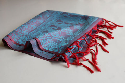 Schal Stola blaurot im Paisley Muster