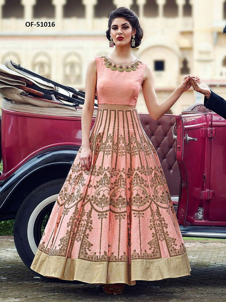 Beautiful Indo Western Peach Art Silk Floor Length Gown (I) – Sitare ...