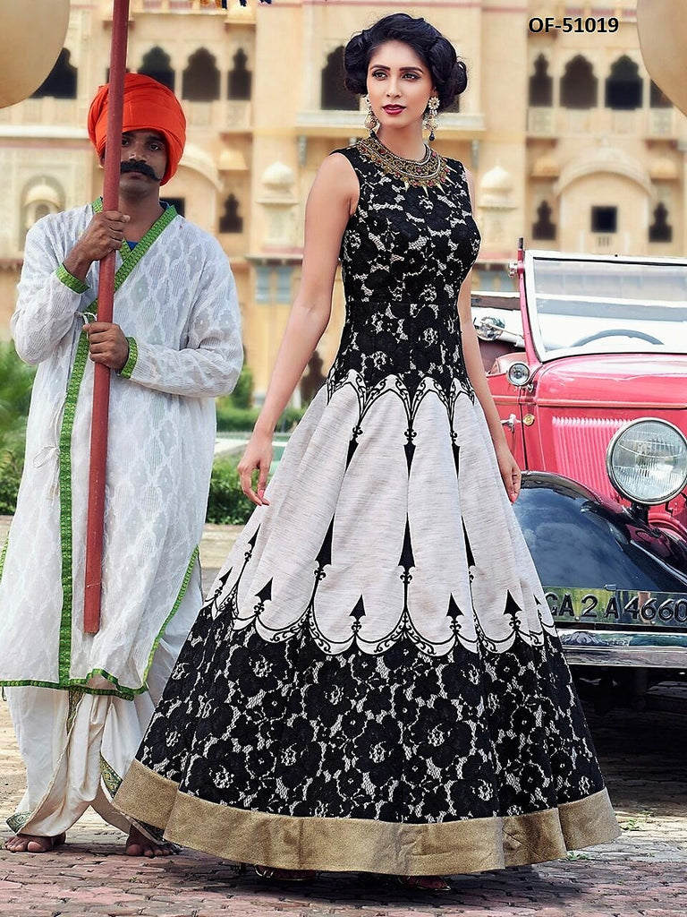Beautiful Indo Western Black/White Designer Art Silk Floor Length ...