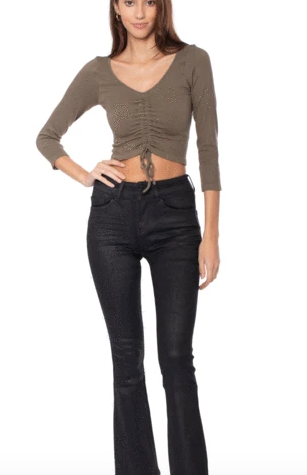 Long Sleeve Ruched Crop Top In Olive