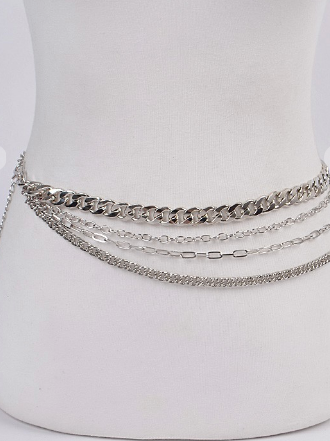 Layered Chain Drop Belt In Silver