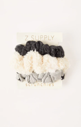 3 Pack Of Scrunchies In Heather Grey