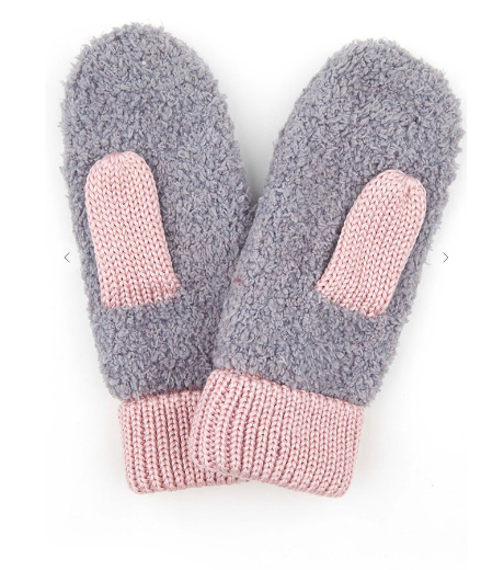 Sherpa Mittens In Gray/Pink