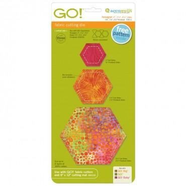 "Accuquilt Go! - Hexagon 1"", 1 1/2"", 2 1/2"" Sides - 55011"