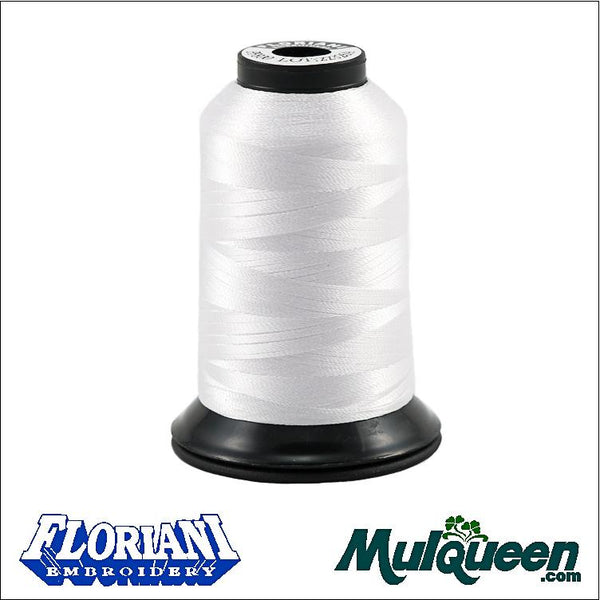 Floriani Polyester Embroidery Thread - #PF0800 - Pure White, 1000m/1100yds