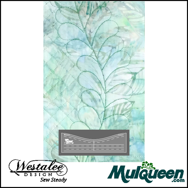 "Westalee 10"" Feather Spine Template - WT-FSPINE10 free motion quilting rulers."
