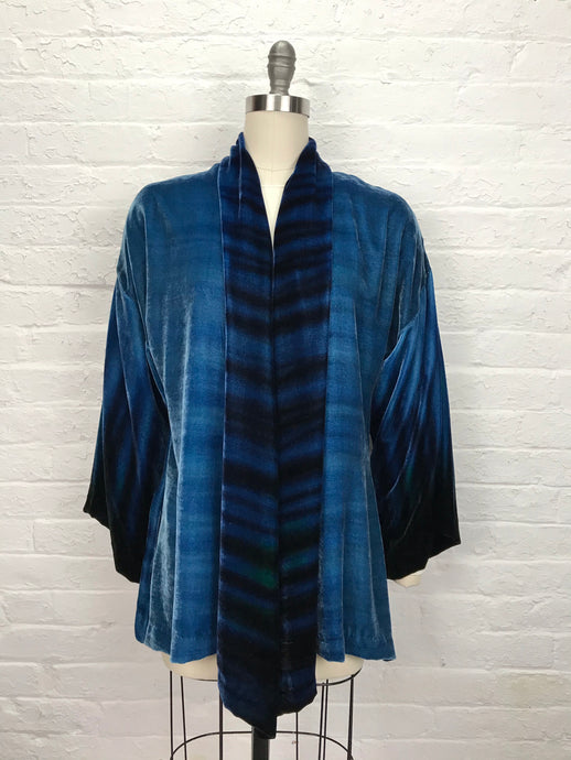 Shawl Collar Velvet Jacket in Luxurious Tiger Blue