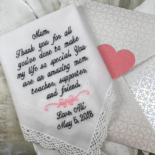 Mother of the Bride Handkerchief-Wedding Hankerchief-EMBROIDERED-CUSTOMIZED-Wedding Hankies-Mother of the Bride Gift-EMbrODeRiED11CUstOmIZeD