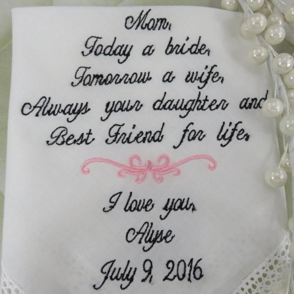 Beautiful Embroidered Lacy Wedding Handkerchief/Mother of the Bride Gift. You may change the words if you would like. Includes Free Gift Box