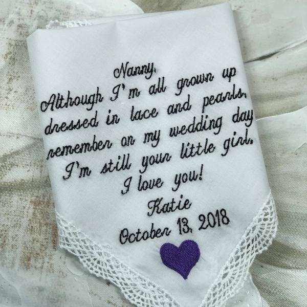 Embroidered Wedding Handkerchief, Grandmother Of The Bride Gift, Custom Handkerchief, Wedding Hanky, Grandmother Gift