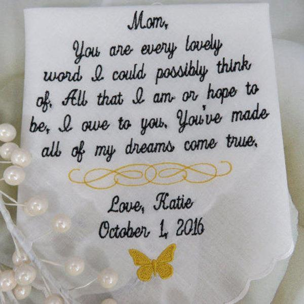 40 words of your choice. Mom's Personalized Wedding Handkerchief. Free handmade matching gift envelope/box.