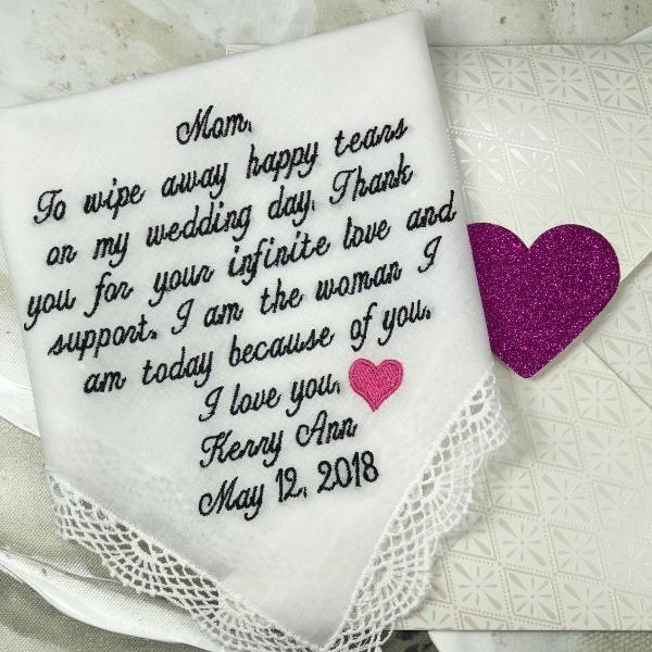 Mother Of The Bride Handkerchief. Wedding Handkerchief EMBROIDERED-CUSTOMIZED- Wedding Hankies-Mother of the Bride Gift -wEDDING EmBrOIDERED