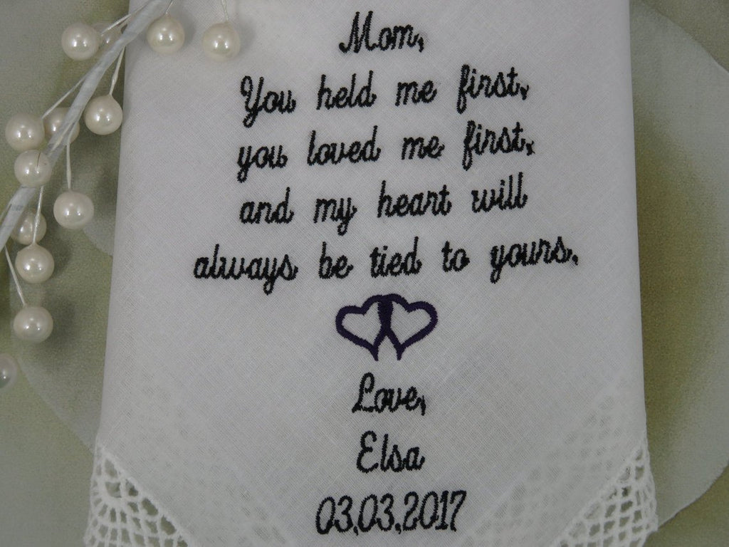 Mother Of The Bride Gift Wedding Handkerchief Embroidered Wedding Handkerchief Wedding Gift For Mom Of The Bride Daughter gift for Mom