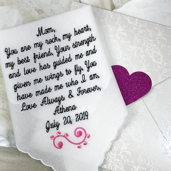 Mother of the Bride Handkerchief from Bride,-wedding handkerchief from daughter-Embroidered-Mother of bride gift from bride, gift embroidery