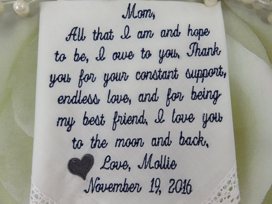 Mother Of Bride Gift -EMBROIDERED Wedding Handkerchief - To Dry Your Tears - Wedding Gift For Parent - Personalized Hankerchief - Mom Hankie