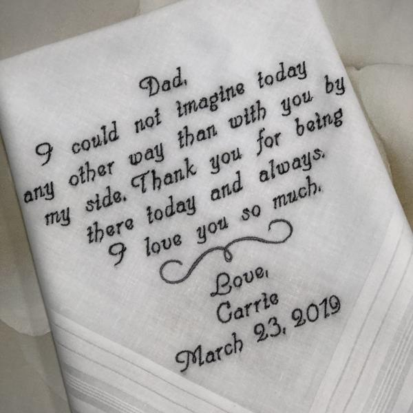 Embroidered Wedding Handkerchief Personalized Wedding Gift For Dad from Daughter.