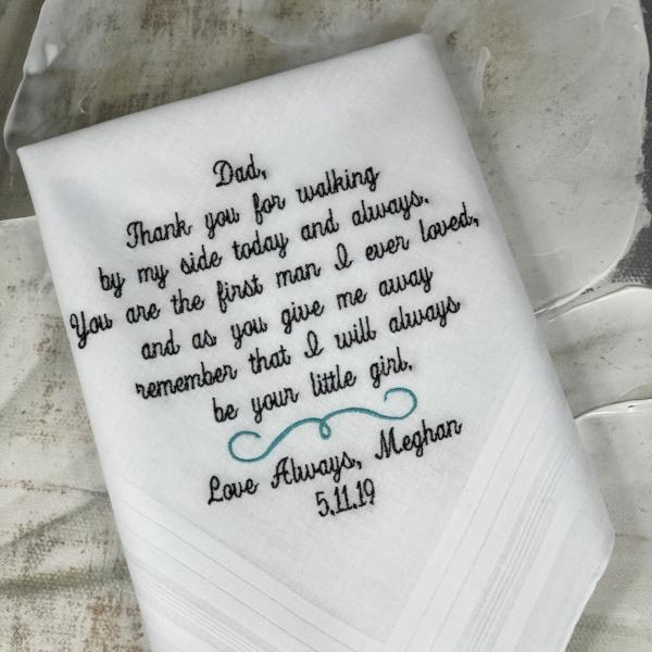 Embroidered Wedding Handkerchief Father of the Bride. Wedding Gift For Dad. Daddys Girl Dad Gift Personalized by Elegant Monogramming