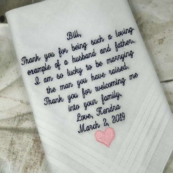 Gift For Dad, Wedding gifts, Embroidered Wedding Handkerchief, Wedding gift For Father Of The Groom, Personalized Custom Gifts, Gift Father