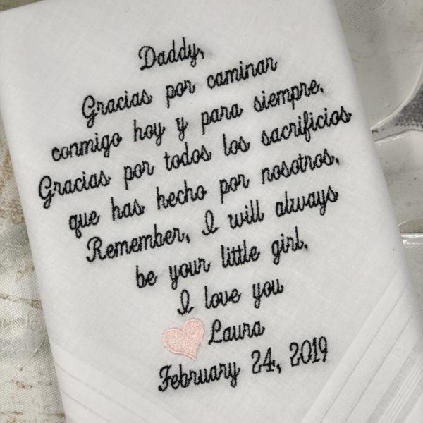 Embroidered Wedding Handkerchief - Father Of The Bride Wedding Gift -Dad Daughter Gift, wedding hankie embroidery, Custom Embroidered Gift