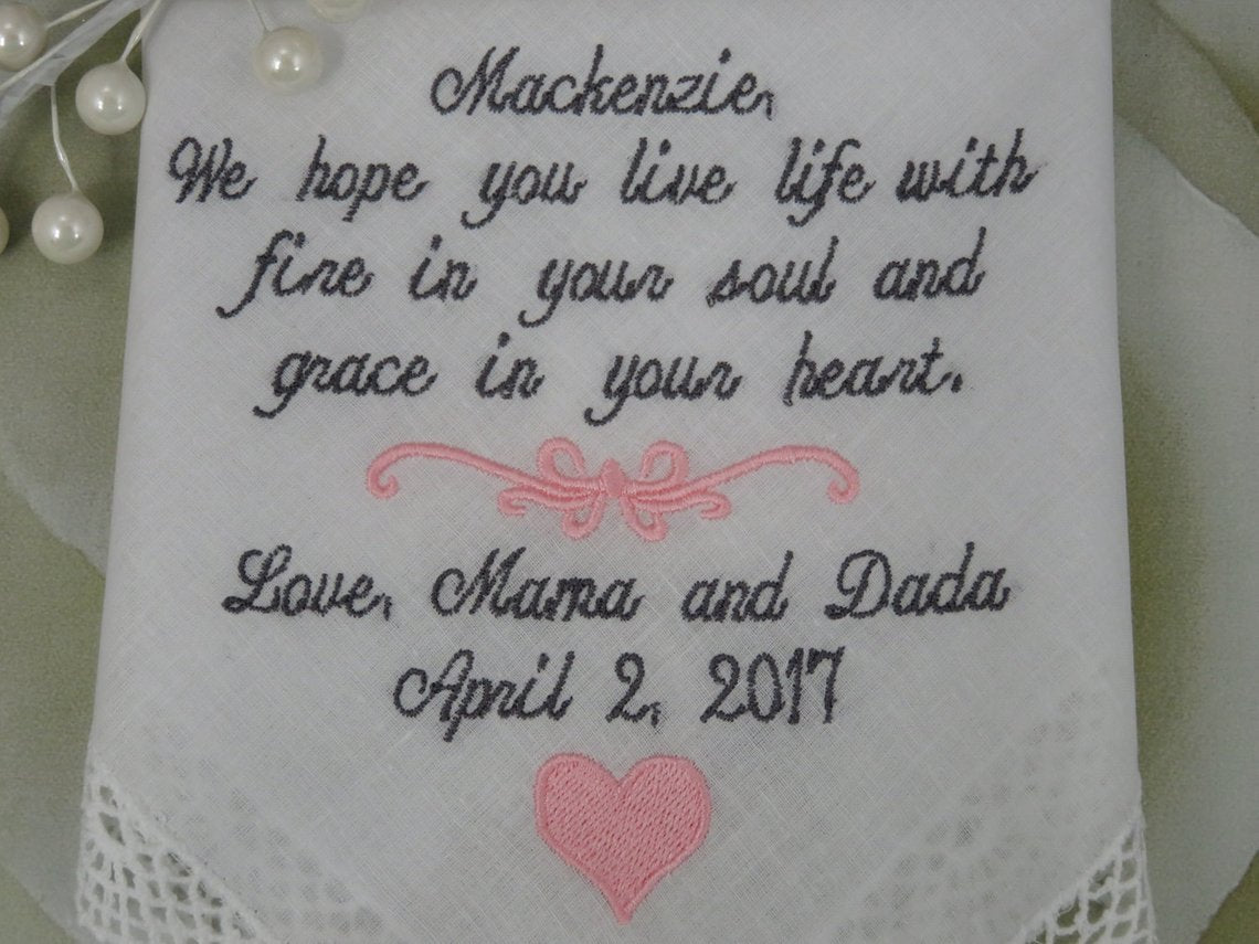 Wedding Handkerchief ***Daughter On Her Wedding Day-Wedding Handkerchief For The Bride From Her Parents, EMBROIDERED-CUSTOMIZED Wedding gift