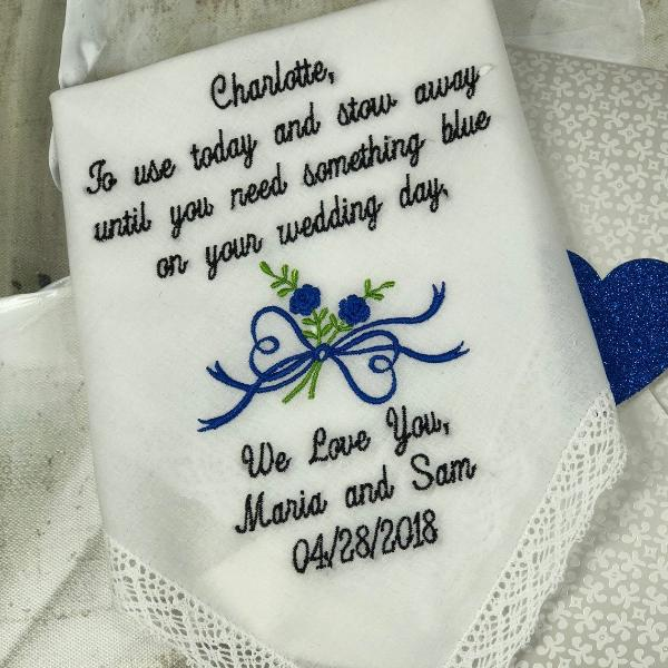 Flower Girl Wedding Handkerchief -Gift- Today You Are Young -Something Old Hankie- Scalloped Edge Cotton Wedding Hanky EMBROIDERED Hankie