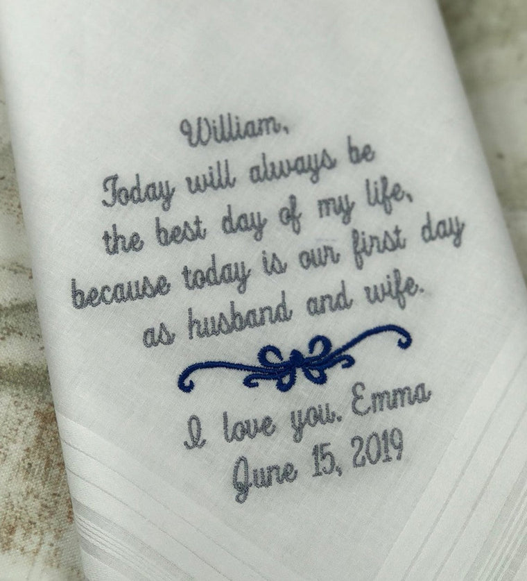 Groom Gift | Wedding Handkerchief For Groom | Personalized Wedding Gift | Wedding Gift To Groom | Custom Handkerchief Groom EMBROIDERED GIFT