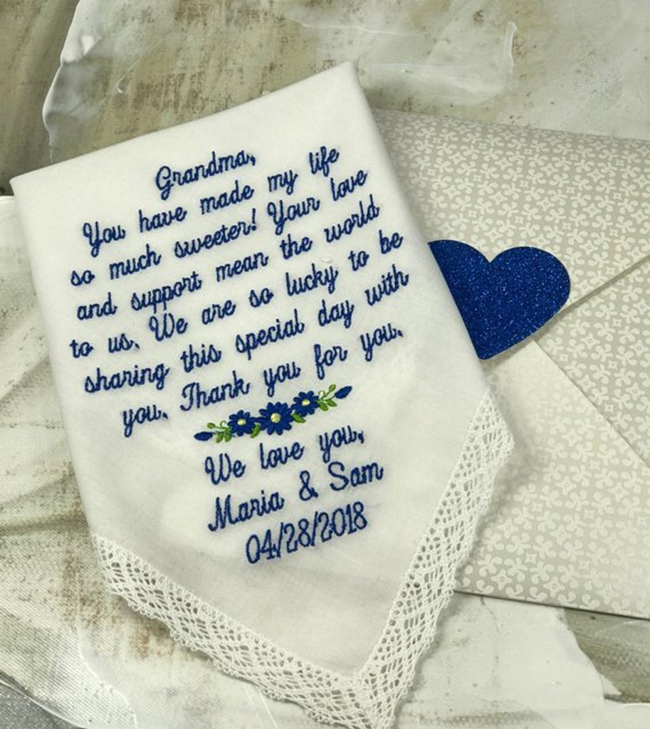 Grandmother Wedding Handkerchief | Grandmother of the Bride |Embroidered Grandmother Gift | Wedding Gift for Grandmother, Nana wedding gift