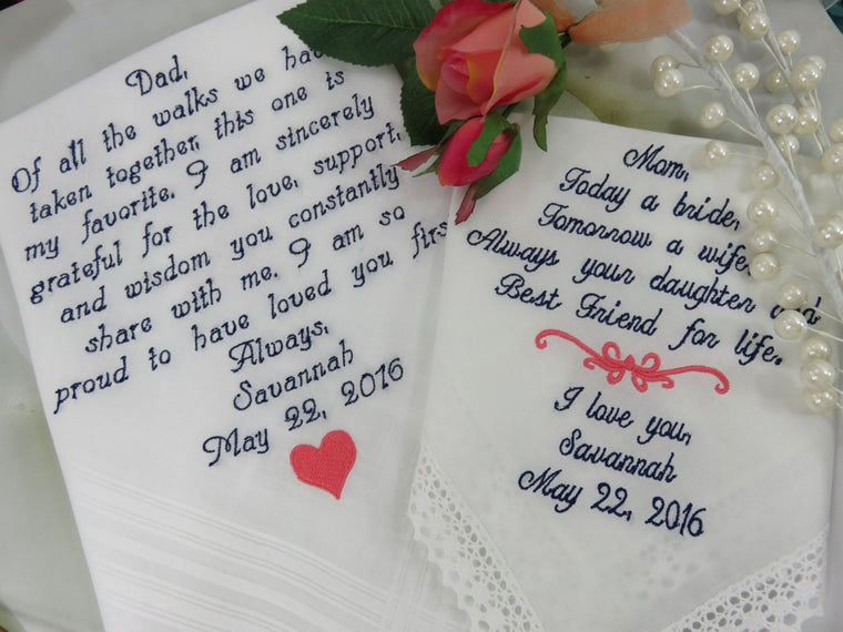 Embroidered Set of Two Wedding Handkerchief Both Parents. Parents Love Getting These On Your Wedding Day. Includes Gift Boxes.