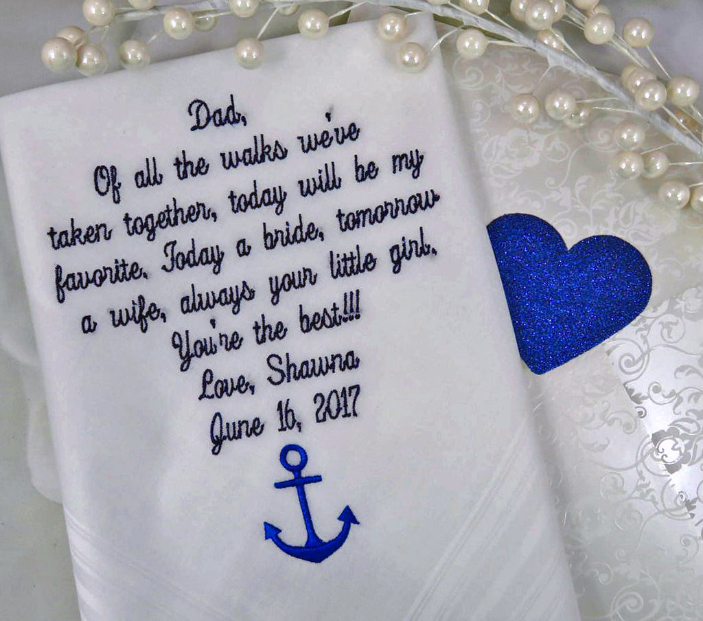 Handkerchief Embroidered Wedding Handkerchief Father Of The Bride Wedding Gift For Brother, Wedding Planning Gifts, Bride Dad Gift hankies