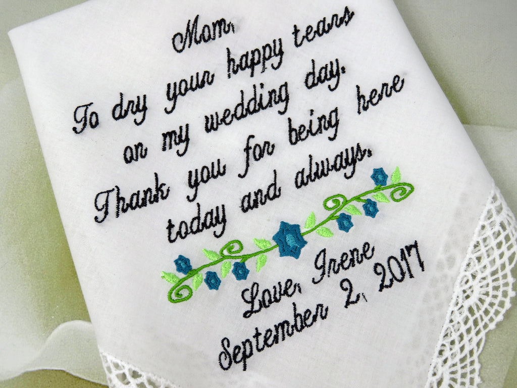 Personalized Wedding Handkerchief For Mother Of The Bride - Customized Wedding Handkerchief Gift - Embroidered Wedding Handkerchief Rustic