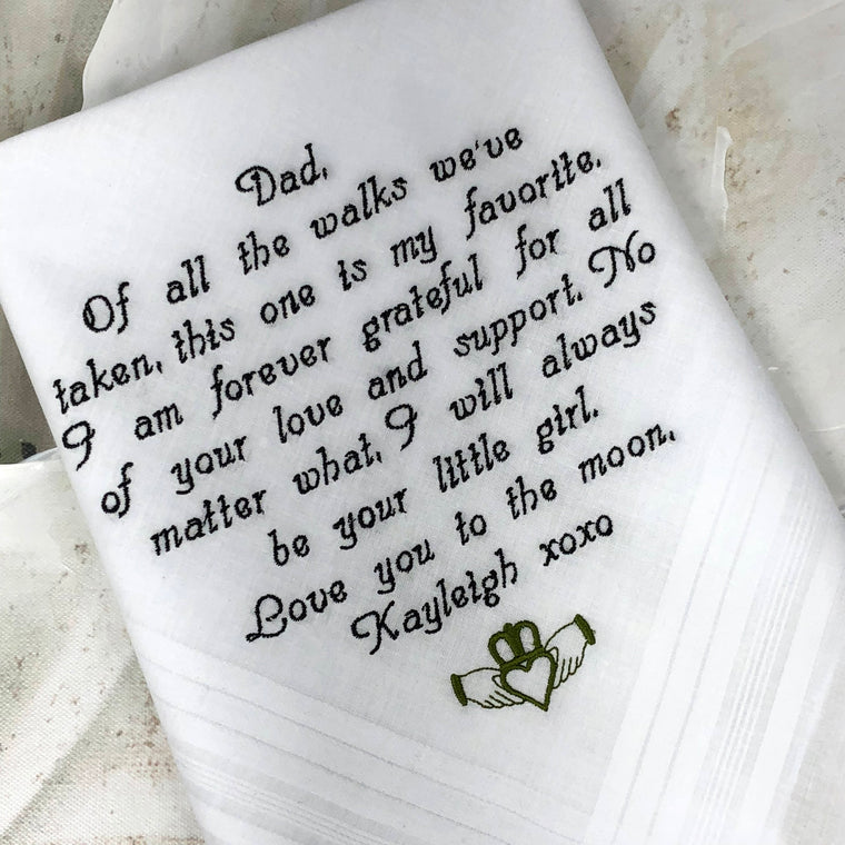 Wedding Gift- personalized handkercief - Wedding gift for dad. Father of the Bride hankerchief - Custom Bridal Gift on Wedding Day Gift