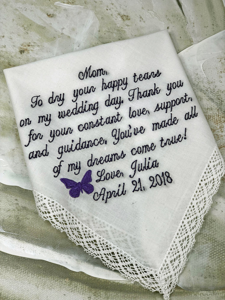Wedding Gift For Mom |Wedding Handkerchief | Embroidered Personalized Handkerchief | Mom Gift | Mother of the Bride Handkerchief