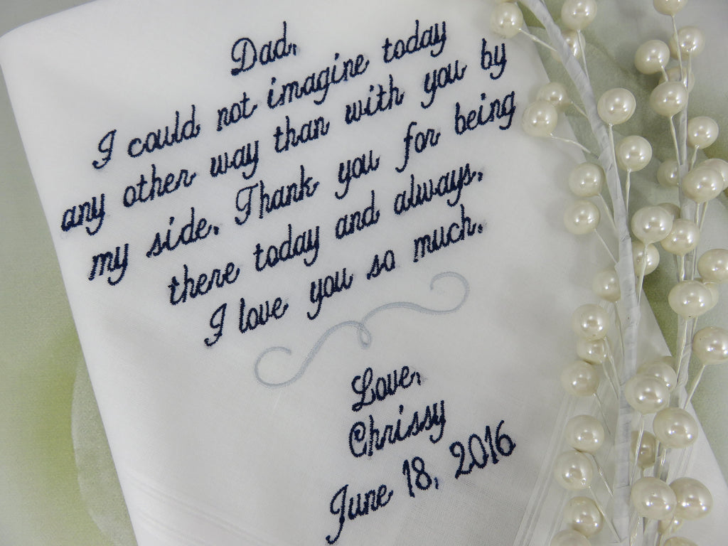 Wedding Handkerchief For Dad, Dad Handkerchief, Father of the Bride Wedding Gift, Gift for Dad, Wedding Hankerchief, Wedding, Hanky, Hankies