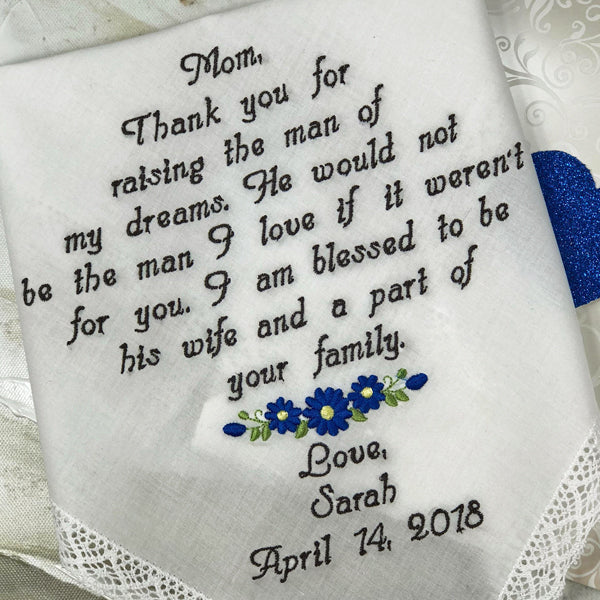 Wedding Gift-Embroidered Wedding Handkerchief For Mother Of The Bride -Personalize wedding hanker-chief gift Brides Mom Wedding Hankie Gift