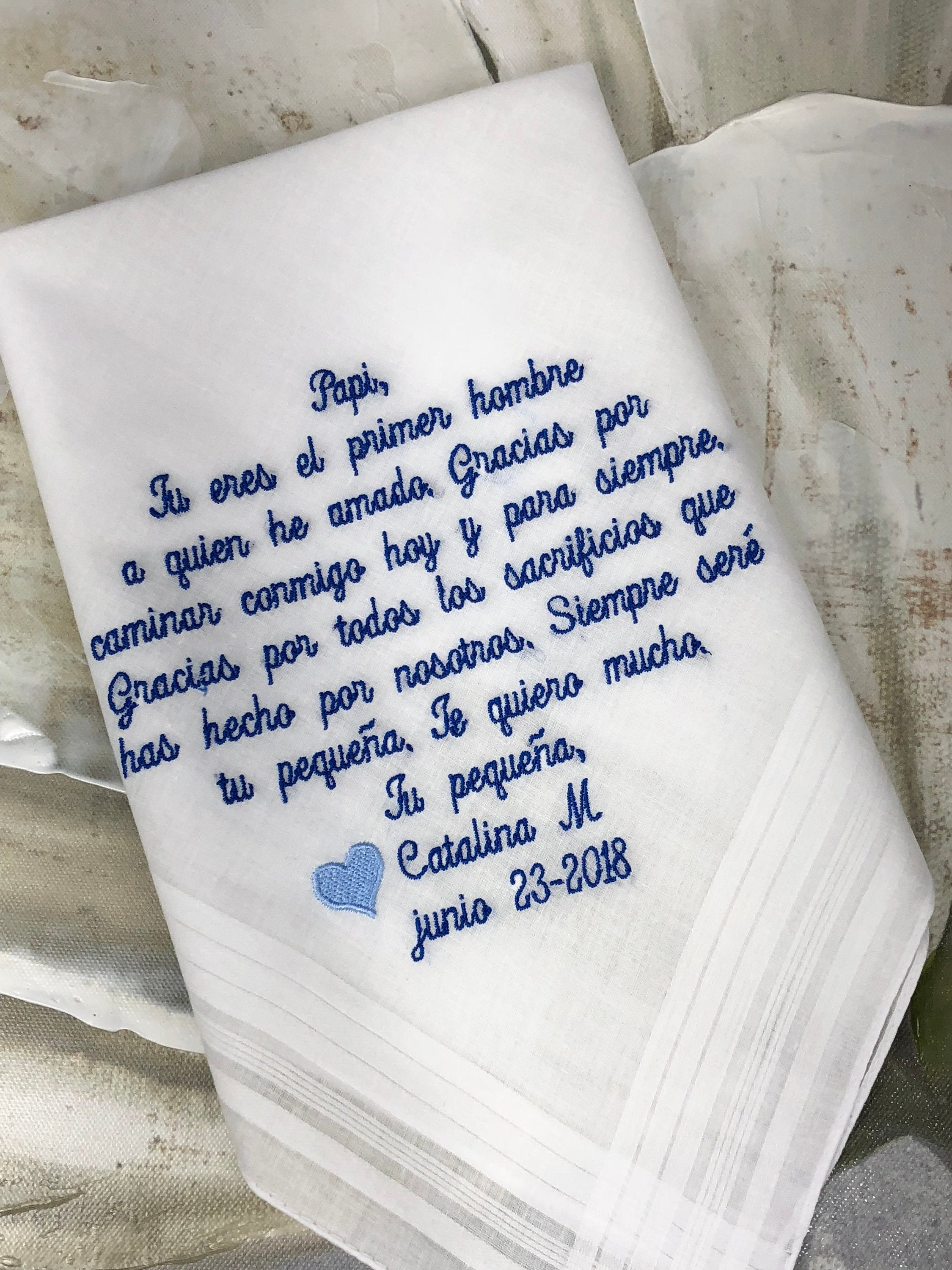 Father Wedding Handkerchief Gift. Customize Wedding Handkerchief Father Of The Bride Gift, Mother of the Bride Includes a Match Gift Box