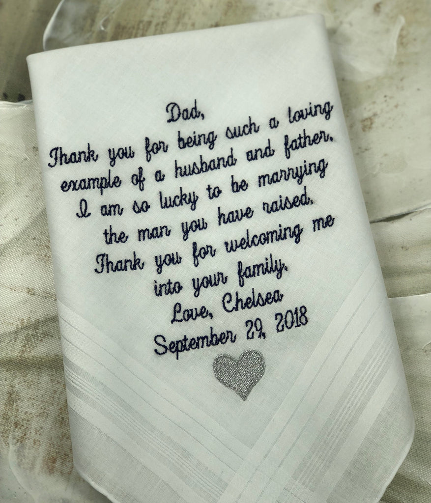 Wedding Handkerchief Embroidered. Father of the Bride wedding gift. Wedding Gift For Dad Handkerchief | Custom Personalized Embroidered Gift