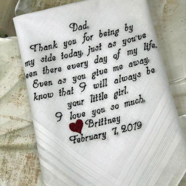EMBROIDERED Father Of The Bride- You May Choose Two Different Colors For Your Embroidered Words - Wedding Hankerchief Father Of The Bride