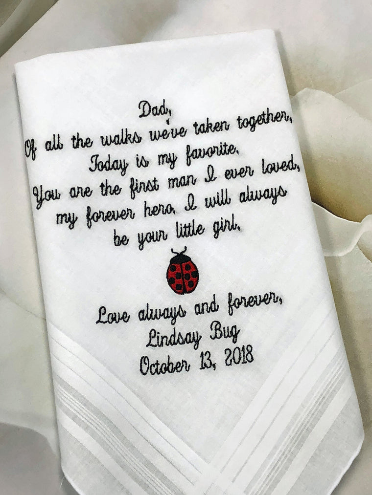 Father Of The Bride Gift | Wedding Handkerchief | Father Of The Groom Gift | Personalized Handkerchief | From Bride EMBROIDERED Handkerchief