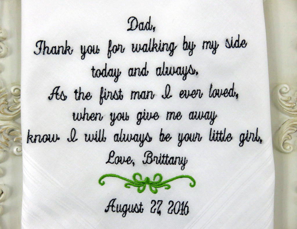 Father Of The Bride Gift, Embroidered Personalized Wedding Handkerchief, Wedding Gift For Dad From Bride by Elegant Monogramming