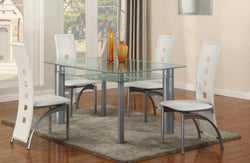 3122W Frosted Edge Glass Top 5PC Dining Set