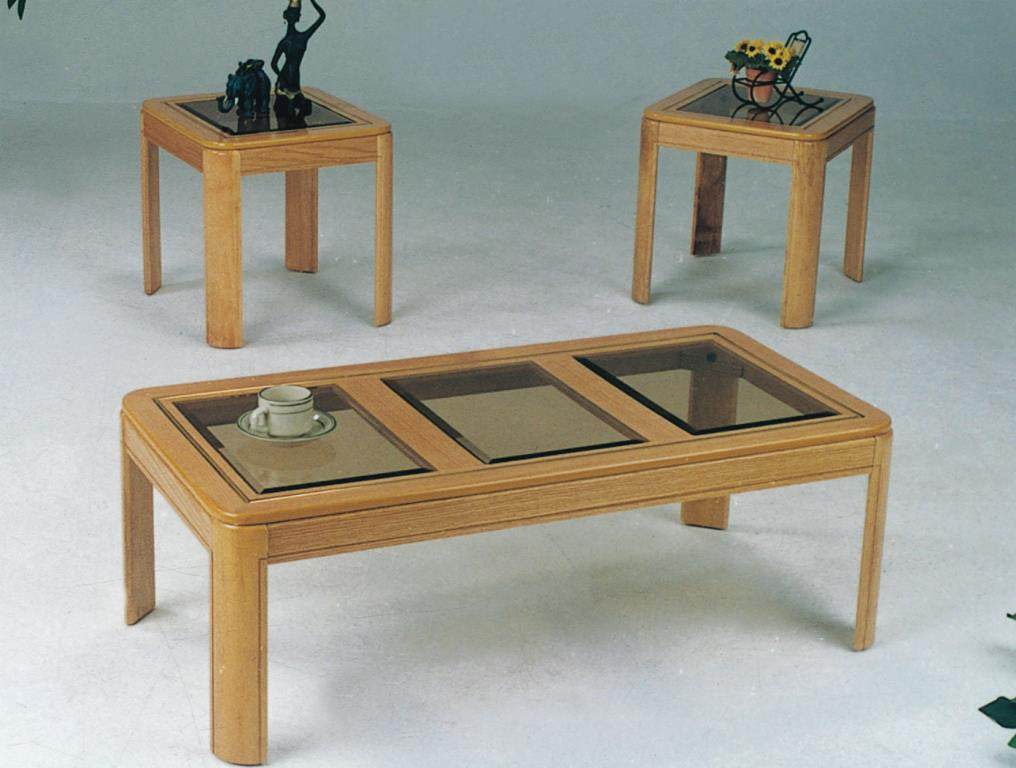 3301 3PC Oak Coffee Table Set