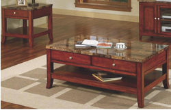 3323E Faux Marble End Table-Cherry